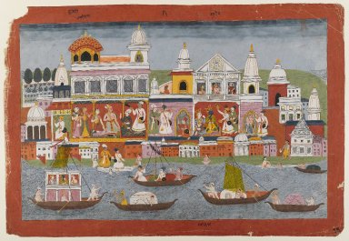 <em>Page from a Bhagavata Purana Series</em>, ca. 1775-1800. Opaque watercolors on paper, 12 1/2 x 19 1/4 in. (31.8 x 48.9 cm). Brooklyn Museum, Gift of Dr. and Mrs. Kenneth X. Robbins, 82.187.1 (Photo: Brooklyn Museum, 82.187.1_IMLS_PS4.jpg)