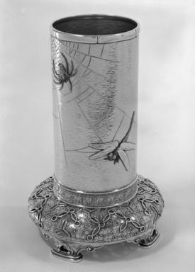 Edward C Moore (American, 1827-1892). <em>Vase</em>, 1877. Silver, sterling silver, copper, high-zinc brass, copper-silver-gold alloy, height: 9 1/2 in. (24.1 cm); diameter of top: 3 3/4 in. (9.5 cm); diameter of base: 8 1/2 in. (21.6 cm). Brooklyn Museum, H. Randolph Lever Fund, 82.18. Creative Commons-BY (Photo: Brooklyn Museum, 82.18_bw.jpg)