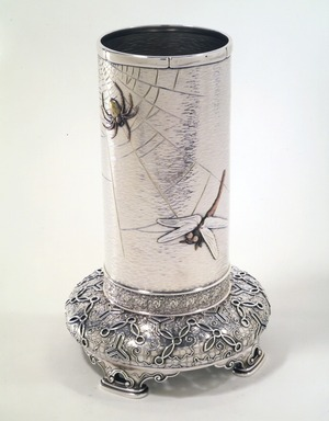 Edward C Moore (American, 1827-1892). <em>Vase</em>, ca. 1874. Silver, brass, copper, height: 9 1/2 in. (24.1 cm); diameter of top: 3 3/4 in. (9.5 cm); diameter of base: 8 1/2 in. (21.6 cm). Brooklyn Museum, H. Randolph Lever Fund, 82.18. Creative Commons-BY (Photo: Brooklyn Museum, 82.18_transp2750.jpg)