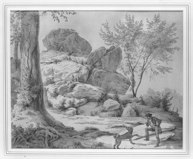 August Kollner (American, 1813-1907). <em>Flat Rock, Pa.</em>. Mixed media on paper, 8 x 11 1/2 in. (20.3 x 29.2 cm). Brooklyn Museum, Gift of Mr. and Mrs. Leonard L. Milberg, 82.193.1 (Photo: Brooklyn Museum, 82.193.1_bw.jpg)