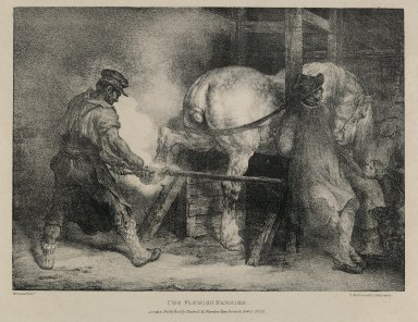 Théodore Géricault (French, 1791-1829). <em>The Flemish Farrier</em>. Lithograph on wove paper, Image: 8 7/8 x 12 3/8 in. (22.5 x 31.4 cm). Brooklyn Museum, Anonymous gift, 82.203 (Photo: Brooklyn Museum, 82.203_PS6.jpg)