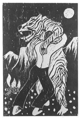 Richard Bosman (American, born India, 1944). <em>Adversaries</em>, 1982. Woodcut on paper, Image: 29 15/16 x 19 11/16 in. (76 x 50 cm). Brooklyn Museum, Designated Purchase Fund, 82.210. © artist or artist's estate (Photo: Brooklyn Museum, 82.210_bw.jpg)