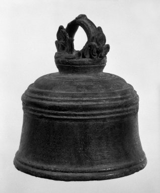 <em>Bell</em>, 12th-13th century. Bronze, 4 1/2 x 4 1/8 in. (11.4 x 10.5 cm). Brooklyn Museum, Gift of Dr. Fred S. Hurst, 82.223.2. Creative Commons-BY (Photo: Brooklyn Museum, 82.223.2_bw.jpg)
