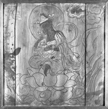 <em>Kannon (Avalokiteshvara)</em>, 18th-19th century. Ink and color on cypress wood, 25 x 25 in. (63.5 x 63.5 cm). Brooklyn Museum, Gift of Stanley J. Love, 82.226.2 (Photo: Brooklyn Museum, 82.226.2_bw_IMLS.jpg)