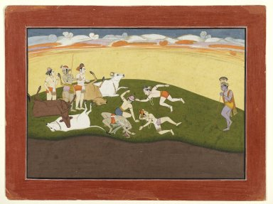 Indian. <em>Leaf from a Dispersed Bhagavata Purana Series</em>, 1760-1765. Opaque watercolors and gold on paper, Sheet): 11 7/8 x 15 7/8 in. (30.2 x 40.3 cm). Brooklyn Museum, Gift of Amy and Robert L. Poster, 82.227.2 (Photo: Brooklyn Museum, 82.227.2_PS2.jpg)