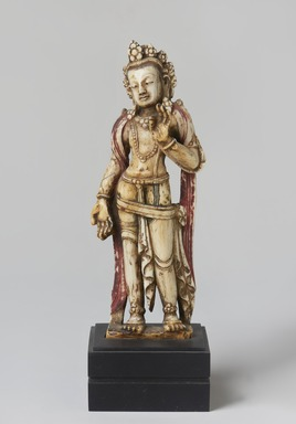 <em>Standing Padmapani</em>, 17th-18th century. Ivory, polychrome, 7 × 5 5/8 × 7/8 in. (17.8 × 14.3 × 2.2 cm). Brooklyn Museum, Gift of Amy and Robert L. Poster, 82.227.3. Creative Commons-BY (Photo: Brooklyn Museum, 82.227.3_front_PS11.jpg)