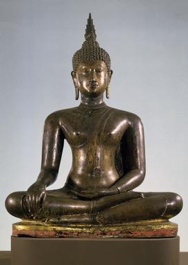 <em>Seated Buddha</em>, 14th century. Bronze, 42 1/4 x 31 1/2 in. (107.3 x 80 cm). Brooklyn Museum, Gift of William Randolph Reiss, 82.228. Creative Commons-BY (Photo: Brooklyn Museum, 82.228_SL1.jpg)