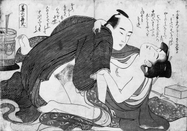 Kitagawa Utamaro (Japanese, 1753-1806). <em>Shunga Album (Woodblock Print)</em>, 18th-19th century. Ink and color on paper, 8 3/4 x 12 1/2 in. (22.2 x 31.8 cm). Brooklyn Museum, Gift of Edward P. Weinman, 82.230 (Photo: Brooklyn Museum, 82.230_detail5_bw_IMLS.jpg)