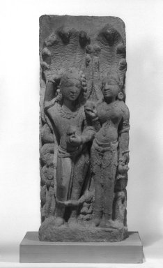 <em>Nagaraja and Nagini</em>, 11th-12th century. Sandstone, 25 1/2 x 10 in. (64.8 x 25.4 cm). Brooklyn Museum, Gift of Dr. and Mrs. George Liberman, 82.236. Creative Commons-BY (Photo: Brooklyn Museum, 82.236_bw.jpg)
