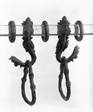 <em>Hook with Loop</em>, 11th-13th century. Bronze, 4 3/8 x 4 in. (11.1 x 10.2 cm). Brooklyn Museum, Gift of Dr. and Mrs. Malcolm Idelson, 82.240.2c. Creative Commons-BY (Photo: , 82.240.2a-g_bw.jpg)