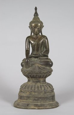 <em>Buddha</em>, 17th century. Bronze, 16 1/2 x 7 in. (41.9 x 17.8 cm). Brooklyn Museum, Gift of Dr. and Mrs. Malcolm Idelson, 82.240.5. Creative Commons-BY (Photo: Brooklyn Museum, 82.240.5_PS5.jpg)