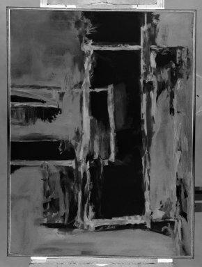 Gertrude Greene (American, 1904-1956). <em>Suspension</em>. Oil on canvas, 31 x 41 in. (78.7 x 104.1 cm). Brooklyn Museum, Gift of Balcomb Greene, 82.244. © artist or artist's estate (Photo: Brooklyn Museum, 82.244_bw.jpg)