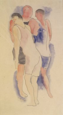 Charles Demuth (American, 1883-1935). <em>Three Male Bathers</em>, 1917. Watercolor and pencil on paper, 11 7/8 x 6 3/4 in. (30.2 x 17.1 cm) (sight). Brooklyn Museum, Gift of John D. and Paul L. Herring in memory of H. Lawrence Herring, 82.245 (Photo: Brooklyn Museum, 82.245.jpg)