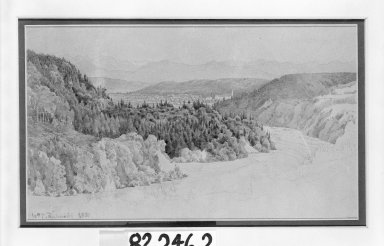 William Trost Richards (American, 1833-1905). <em>Landscape</em>. Watercolor and pencil on paper, Sheet: 7 7/16 x 11 3/4 in. (18.9 x 29.8 cm). Brooklyn Museum, Gift of Mr. and Mrs. Wilbur L. Ross, Jr., 82.246.2 (Photo: Brooklyn Museum, 82.246.2_bw.jpg)