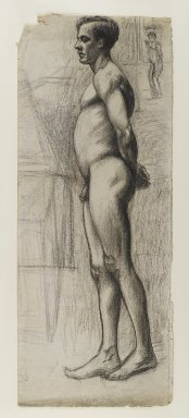 Edward Hopper (American, 1882-1967). <em>Male Nude</em>, ca. 1903-1904. Charcoal (with possible additions of black crayon) on cream, moderately thick, moderately textured laid paper, Sheet (folded): 24 x 9 5/8 in. (61 x 24.4 cm). Brooklyn Museum, Gift of Mr. and Mrs. Morton Ostrow, 82.253.2. © artist or artist's estate (Photo: Brooklyn Museum, 82.253.2_IMLS_PS4.jpg)