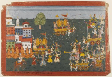 <em>Folio from a Bhagavata Purana Series</em>, ca. 1800. Opaque watercolors on paper, 15 x 21 3/4 in. (38.1 x 55.2 cm). Brooklyn Museum, Gift of Dr. and Mrs. Kenneth X. Robbins, 82.258 (Photo: Brooklyn Museum, 82.258_IMLS_PS4.jpg)