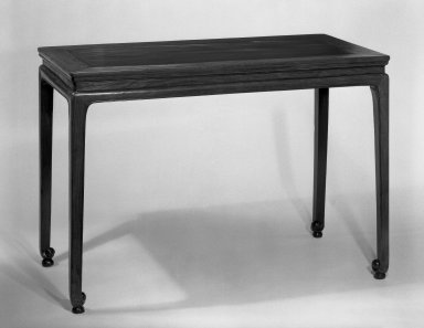 <em>Table</em>, late 16th century. Rosewood (Huanghuali), 30 x 43 x 21 1/2 in. (76.2 x 109.2 x 54.6 cm). Brooklyn Museum, Purchased with funds given by the B.D.G. Leviton Foundation and the J. Aron Charitable Foundation, 82.28. Creative Commons-BY (Photo: Brooklyn Museum, 82.28_bw.jpg)