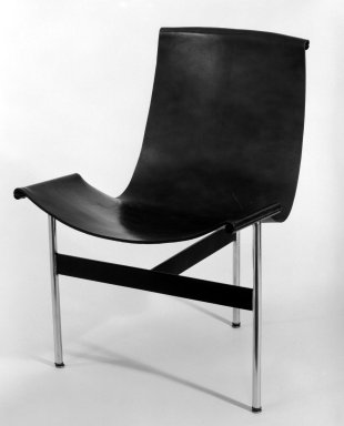 "William Katavalos. <em>""T"" Chair</em>, ca. 1950-1953. Metal, leather, 30 1/4 x 22 x 22 1/2 in. (76.8 x 55.9 x 57.2 cm). Brooklyn Museum, Gift of David A. Hanks, 82.2. Creative Commons-BY (Photo: Brooklyn Museum, 82.2_bw.jpg)"