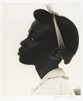 Consuelo Kanaga (American, 1894-1978). <em>[Untitled] (Young Girl in Profile)</em>, 1948. Toned gelatin silver photograph, 10 3/8 x 8 7/8 in. (26.4 x 22.5 cm). Brooklyn Museum, Gift of Wallace B. Putnam from the Estate of Consuelo Kanaga, 82.65.11 (Photo: Brooklyn Museum, 82.65.11_PS2.jpg)