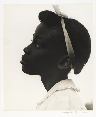 Consuelo Kanaga (American, 1894-1978). <em>[Untitled] (Young Girl in Profile)</em>, 1948. Toned gelatin silver photograph, 10 3/8 x 8 7/8 in. (26.4 x 22.5 cm). Brooklyn Museum, Gift of Wallace B. Putnam from the Estate of Consuelo Kanaga, 82.65.11 (Photo: Brooklyn Museum, 82.65.11_PS2_edited.jpg)