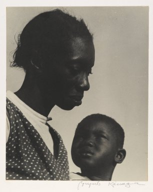 Consuelo Kanaga (American, 1894-1978). <em>Mother and Son or The Question (Florida)</em>, 1950. Gelatin silver photograph, 9 1/2 x 7 3/4 in. (24.1 x 19.7 cm). Brooklyn Museum, Gift of Wallace B. Putnam from the Estate of Consuelo Kanaga, 82.65.13 (Photo: Brooklyn Museum, 82.65.13_PS2.jpg)