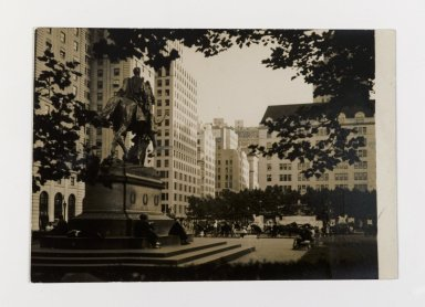 Consuelo Kanaga (American, 1894-1978). <em>[Untitled] (Grand Army Plaza, NYC)</em>. Gelatin silver photograph, 3 3/4 x 5 3/8 in. (9.5 x 13.7 cm). Brooklyn Museum, Gift of Wallace B. Putnam from the Estate of Consuelo Kanaga, 82.65.141 (Photo: Brooklyn Museum, 82.65.141_PS2.jpg)