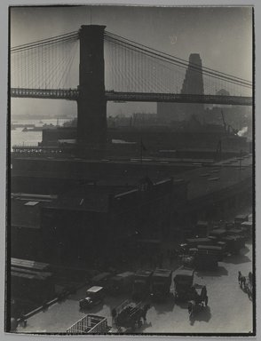 Consuelo Kanaga (American, 1894-1978). <em>[Untitled] (Brooklyn Bridge)</em>, 1946-1949. Gelatin silver photograph, 4 x 3 in. (10.2 x 7.6 cm). Brooklyn Museum, Gift of Wallace B. Putnam from the Estate of Consuelo Kanaga, 82.65.152 (Photo: Brooklyn Museum, 82.65.152_PS2.jpg)
