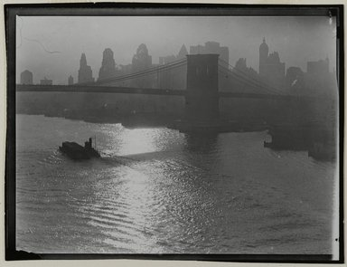 Consuelo Kanaga (American, 1894-1978). <em>[Untitled] (Tug and Barge, East River)</em>, 1922-1924. Gelatin silver photograph, 3 1/4 x 4 1/4 in. (8.3 x 10.8 cm). Brooklyn Museum, Gift of Wallace B. Putnam from the Estate of Consuelo Kanaga, 82.65.160 (Photo: Brooklyn Museum, 82.65.160_PS2.jpg)