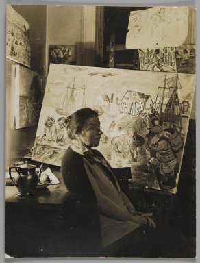 Consuelo Kanaga (American, 1894-1978). <em>[Untitled] (Artist in Her Studio)</em>. Gelatin silver photograph, 4 3/4 x 3 1/2 in. (12.1 x 8.9 cm). Brooklyn Museum, Gift of Wallace B. Putnam from the Estate of Consuelo Kanaga, 82.65.168 (Photo: Brooklyn Museum, 82.65.168_PS2.jpg)