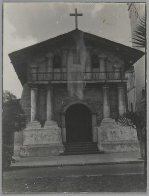 Consuelo Kanaga (American, 1894-1978). <em>[Untitled] (Southern Church)</em>. Gelatin silver photograph, 4 x 3 in. (10.2 x 7.6 cm). Brooklyn Museum, Gift of Wallace B. Putnam from the Estate of Consuelo Kanaga, 82.65.170 (Photo: Brooklyn Museum, 82.65.170_PS2.jpg)