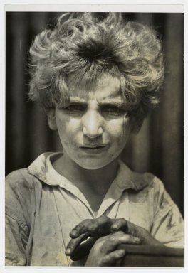 Consuelo Kanaga (American, 1894-1978). <em>Poor Boy, New York</em>, 1928. Gelatin silver photograph, 7 1/4 x 4 7/8 in. (18.4 x 12.4 cm). Brooklyn Museum, Gift of Wallace B. Putnam from the Estate of Consuelo Kanaga, 82.65.171 (Photo: Brooklyn Museum, 82.65.171_PS2.jpg)