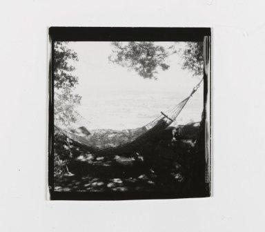 Consuelo Kanaga (American, 1894-1978). <em>[Untitled] (Hammock)</em>. Gelatin silver photograph, 2 1/2 x 2 3/8 in. (6.4 x 6 cm). Brooklyn Museum, Gift of Wallace B. Putnam from the Estate of Consuelo Kanaga, 82.65.176 (Photo: Brooklyn Museum, 82.65.176_PS2.jpg)