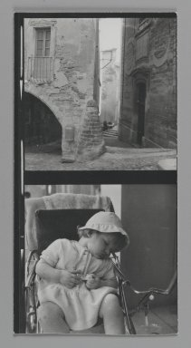 Consuelo Kanaga (American, 1894-1978). <em>[Untitled] (City Alley) (top exposure) and [Untitled] (Child Sleeping) (bottom exposure)</em>. Gelatin silver photograph, Contact sheet: 4 3/4 x 2 1/2 in. (12.1 x 6.4 cm). Brooklyn Museum, Gift of Wallace B. Putnam from the Estate of Consuelo Kanaga, 82.65.181 (Photo: Brooklyn Museum, 82.65.181_PS2.jpg)