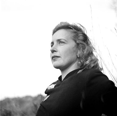 Consuelo Kanaga (American, 1894-1978). <em>Margaret Wise Brown</em>. Cellulose acetate negative, 5 x 2 1/2 in. (12.7 x 6.4 cm). Brooklyn Museum, Gift of Wallace B. Putnam from the Estate of Consuelo Kanaga, 82.65.1827a-b (Photo: Brooklyn Museum, 82.65.1827a_bw_SL3.jpg)