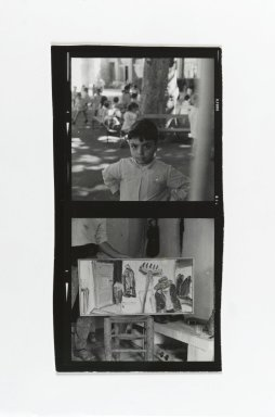Consuelo Kanaga (American, 1894-1978). <em>[Untitled] (Boy with Benches) (top exposure) and [Untitled] (Painting in Studio) (bottom exposure)</em>. Gelatin silver photograph, contact sheet: 5 x 2 5/8 in. (12.7 x 6.7 cm). Brooklyn Museum, Gift of Wallace B. Putnam from the Estate of Consuelo Kanaga, 82.65.183 (Photo: Brooklyn Museum, 82.65.183_PS2.jpg)