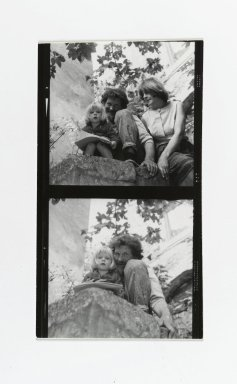 Consuelo Kanaga (American, 1894-1978). <em>[Untitled] (Man and Woman with Child) (top exposure)  [Untitled] (Man with Child) (bottom exposure)</em>. Gelatin silver photograph, Contact sheet: 4 1/2 x 2 5/8 in. (11.4 x 6.7 cm). Brooklyn Museum, Gift of Wallace B. Putnam from the Estate of Consuelo Kanaga, 82.65.185 (Photo: Brooklyn Museum, 82.65.185_PS2.jpg)