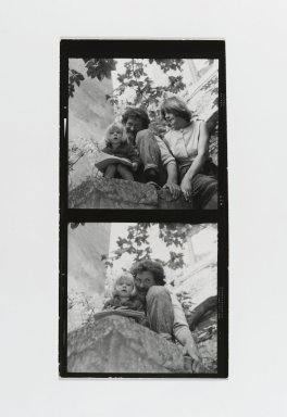 Consuelo Kanaga (American, 1894-1978). <em>[Untitled] (Man and Woman with Child) (top exposure)  [Untitled] (Man with Child) (bottom exposure)</em>. Gelatin silver photograph, Contact sheet: 4 5/8 x 2 1/2 in. (11.7 x 6.4 cm). Brooklyn Museum, Gift of Wallace B. Putnam from the Estate of Consuelo Kanaga, 82.65.187 (Photo: Brooklyn Museum, 82.65.187_PS2.jpg)