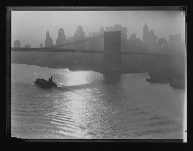 Consuelo Kanaga (American, 1894-1978). <em>[Untitled] (Brooklyn Bridge)</em>, 1922-1924. Gelatin silver photograph, 4 x 5 in. (10.2 x 12.7 cm). Brooklyn Museum, Gift of Wallace B. Putnam from the Estate of Consuelo Kanaga, 82.65.208 (Photo: Brooklyn Museum, 82.65.208_PS2.jpg)