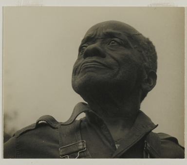 Consuelo Kanaga (American, 1894-1978). <em>William Edmondson (Tennessee)</em>, 1950. Gelatin silver photograph, 3 1/8 x 3 3/4 in. (7.9 x 9.5 cm). Brooklyn Museum, Gift of Wallace B. Putnam from the Estate of Consuelo Kanaga, 82.65.2118.2 (Photo: Brooklyn Museum, 82.65.2118_PS2.jpg)