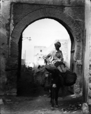 Consuelo Kanaga (American, 1894-1978). <em>[Untitled] (Man on Donkey, North Africa)</em>, 1928. Negative, print: 4 5/8 x 3 3/4 in. (11.7 x 9.5 cm). Brooklyn Museum, Gift of Wallace B. Putnam from the Estate of Consuelo Kanaga, 82.65.2133 (Photo: Brooklyn Museum, 82.65.2133_bw_IMLS.jpg)