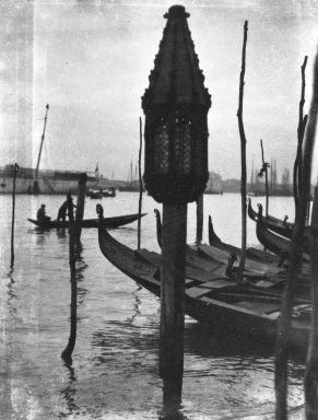 Consuelo Kanaga (American, 1894-1978). <em>[Untitled] (Gondola Lamp, Venice)</em>, 1927. Negative, negative: 3 1/8 x 1 1/16 in. (7.9 x 2.7 cm). Brooklyn Museum, Gift of Wallace B. Putnam from the Estate of Consuelo Kanaga, 82.65.2145 (Photo: Brooklyn Museum, 82.65.2145_bw_IMLS.jpg)