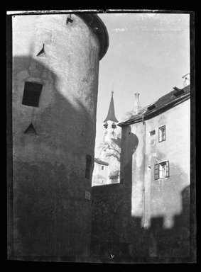Consuelo Kanaga (American, 1894-1978). <em>[Untitled] (Towers, Germany)</em>, 1927. Negative, Negative: 3 1/2 x 4 7/8 in. (8.9 x 12.4 cm). Brooklyn Museum, Gift of Wallace B. Putnam from the Estate of Consuelo Kanaga, 82.65.2150 (Photo: Brooklyn Museum, 82.65.2150_bw_SL5.jpg)