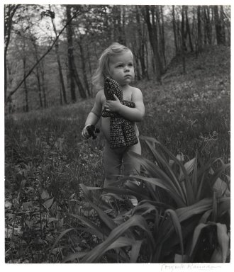 Consuelo Kanaga (American, 1894-1978). <em>[Untitled] (Little Girl with Doll in Woods)</em>. Gelatin silver photograph, 10 3/8 x 9 1/8 in. (26.4 x 23.2 cm). Brooklyn Museum, Gift of Wallace B. Putnam from the Estate of Consuelo Kanaga, 82.65.2227 (Photo: Brooklyn Museum, 82.65.2227_PS2.jpg)