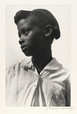 Consuelo Kanaga (American, 1894-1978). <em>Young Girl (White Blouse), Tennessee</em>, 1948. Toned gelatin silver photograph, Image: 10 5/8 x 6 7/8 in. (27 x 17.5 cm). Brooklyn Museum, Gift of Wallace B. Putnam from the Estate of Consuelo Kanaga, 82.65.2232 (Photo: Brooklyn Museum, 82.65.2232_PS2.jpg)