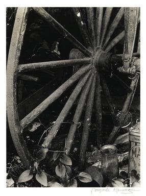 Consuelo Kanaga (American, 1894-1978). <em>[Untitled] (Wagon Wheel)</em>. Gelatin silver photograph, 9 1/2 x 7 in. (24.1 x 17.8 cm). Brooklyn Museum, Gift of Wallace B. Putnam from the Estate of Consuelo Kanaga, 82.65.2240 (Photo: Brooklyn Museum, 82.65.2240_PS2.jpg)