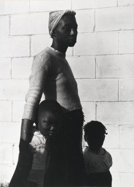 Consuelo Kanaga (American, 1894-1978). <em>[Untitled] (Mother with Children)</em>, 1950. Gelatin silver photograph, 13 1/4 x 9 1/2 in. (33.7 x 24.1 cm). Brooklyn Museum, Gift of Wallace B. Putnam from the Estate of Consuelo Kanaga, 82.65.2250 (Photo: Brooklyn Museum, 82.65.2250_PS1.jpg)