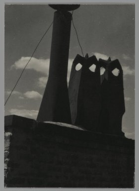 Consuelo Kanaga (American, 1894-1978). <em>[Untitled] (Chimneys)</em>. Gelatin silver photograph, 4 1/8 x 3 in. (10.5 x 7.6 cm). Brooklyn Museum, Gift of Wallace B. Putnam from the Estate of Consuelo Kanaga, 82.65.231 (Photo: Brooklyn Museum, 82.65.231_PS2.jpg)