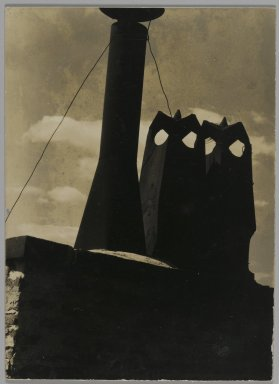 Consuelo Kanaga (American, 1894-1978). <em>[Untitled] (Chimneys)</em>. Gelatin silver photograph, Flush mounted on card: 4 1/8 x 3 in. (10.5 x 7.6 cm). Brooklyn Museum, Gift of Wallace B. Putnam from the Estate of Consuelo Kanaga, 82.65.233 (Photo: Brooklyn Museum, 82.65.233_PS2.jpg)