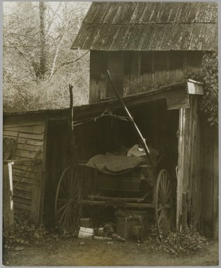 Consuelo Kanaga (American, 1894-1978). <em>[Untitled] (Carriage in Barn)</em>, early 1930s. Gelatin silver photograph, 7 3/4 x 6 1/4 in. (19.7 x 15.9 cm). Brooklyn Museum, Gift of Wallace B. Putnam from the Estate of Consuelo Kanaga, 82.65.234 (Photo: Brooklyn Museum, 82.65.234_PS2.jpg)