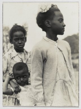 Consuelo Kanaga (American, 1894-1978). <em>[Untitled] (Three Children)</em>, 1949-1950. Gelatin silver photograph, 7 5/8 x 9 1/2 in. (19.4 x 24.1 cm). Brooklyn Museum, Gift of Wallace B. Putnam from the Estate of Consuelo Kanaga, 82.65.238 (Photo: Brooklyn Museum, 82.65.238_PS2.jpg)